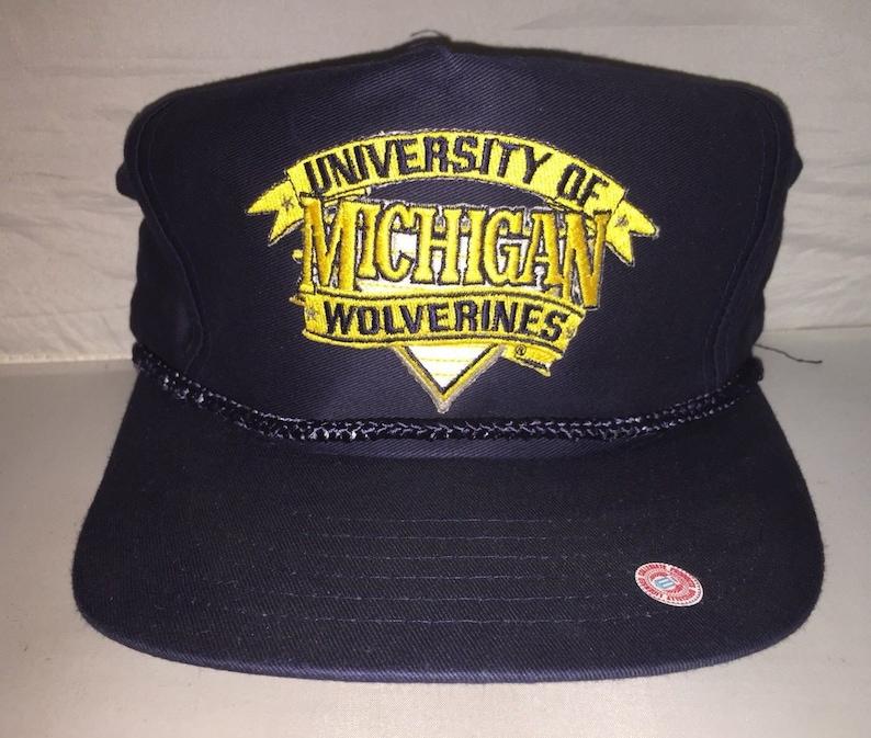 Vintage Michigan Wolverines Snapback hat cap rare 90s  1338a932a280