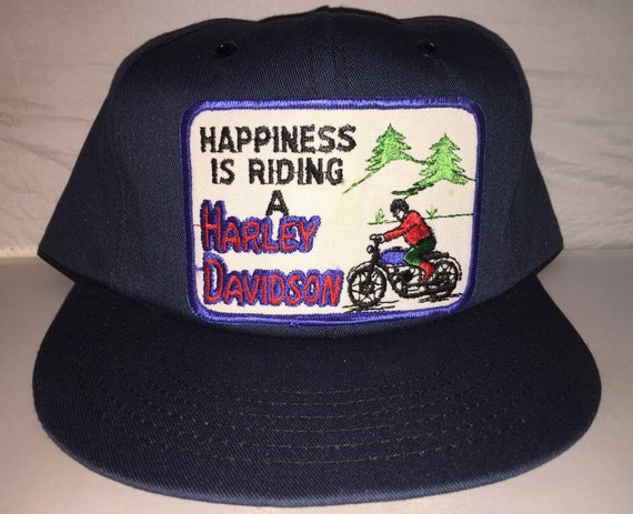 Vintage Happiness is Riding a Harley Davidson Snapback Patch  9f878a5620ac
