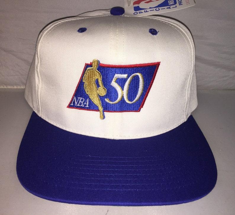 70952077e60 Vintage NBA 50th Anniversary Snapback hat cap rare 90s 50   Etsy