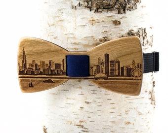 Chicago Skyline Wooden Bow Tie