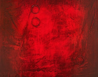 Modern Abstract Painting - Red painting panel Abstract 158 - 12 x 12 Modern painting. Original abstract texture multiple panel painting.
