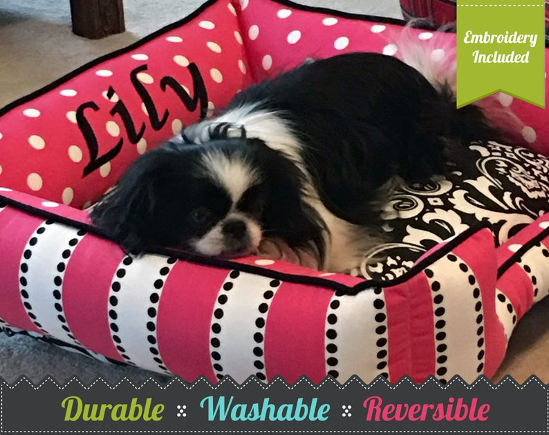 Small Dog Bed  Personalized Dog Bed  Pink Polka Dot Dog Bed image 1