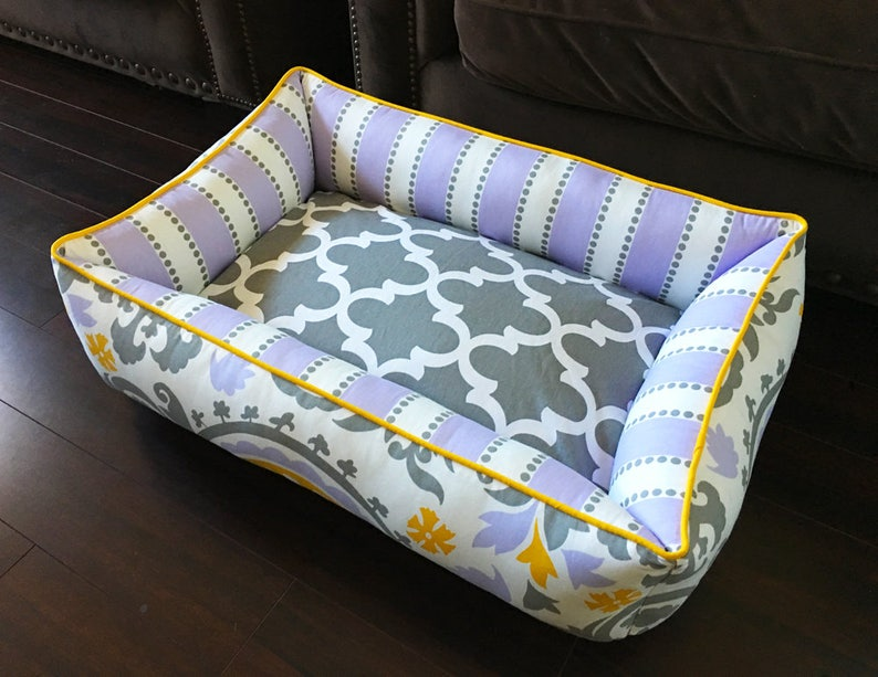medium or small dog bed x-large,large Purple Dog or Cat bed wwashable removable bed cover choose your own fabrics free name embroidery