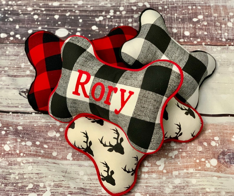 Buffalo Plaid Dog Bone Pillow  Holiday Gifts  Dog Gifts  image 0