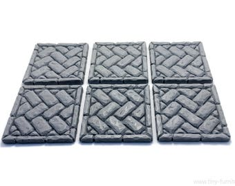 Brickwork floor tiles 1.5'' 01 (UNPAINTED) - Miniature tabletop furniture, dungeon decor, dwarven forge, D&D, warhammer, Frostgrave