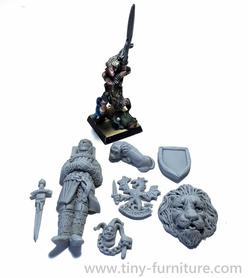 Knight/'s tomb kit warhammer dwarven forge D/&D - Miniature tabletop furniture dungeon decor unpainted