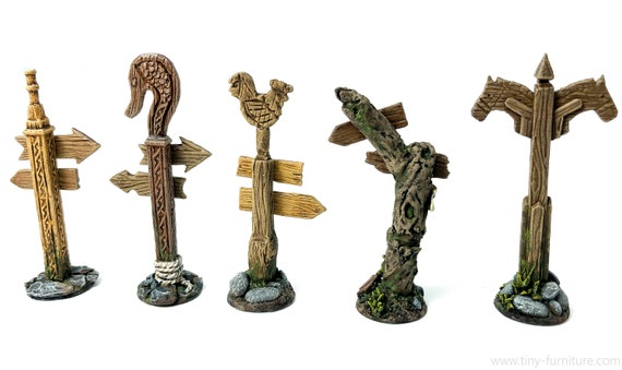 warhammer - Miniature tabletop furniture dungeon decor D/&D dwarven forge PAINTED Road signs