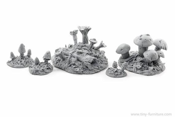 Magic mushrooms D/&D dungeon decor warhammer dwarven forge unpainted - Miniature tabletop furniture