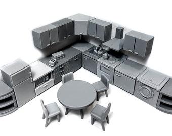 Modern kitchen - Miniature tabletop furniture, dungeon decor,  D&D, Fallout, Malifaux, Sci-Fi