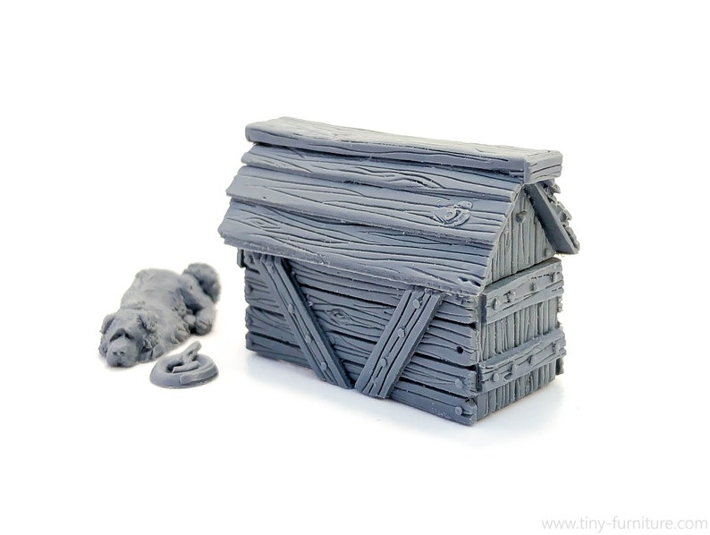 Pathfinder D/&D Kennel with a dog UNPAINTED - Miniature tabletop furniture dungeon decor 28mm Frostgrave