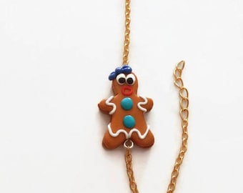 Bracelet polymer clay gingerbread