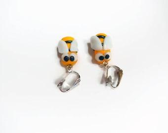 polymer clay bee clip earrings