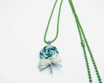 Green polymer clay lollipop necklace