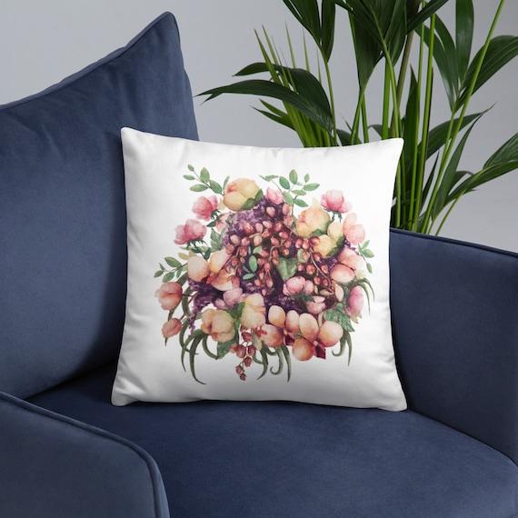 Watercolor Bouquet Decorative Throw Pillow Flowers Floral Etsy