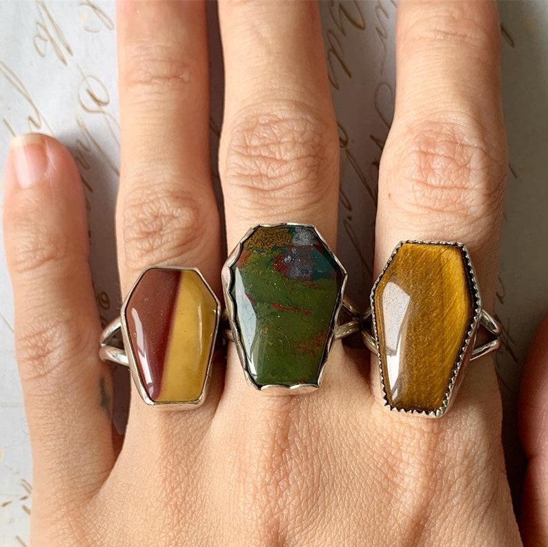 SIZE 7.5 COFFIN momento mori Mookaite Jasper ring handmade boho bohemian artisan jewelry