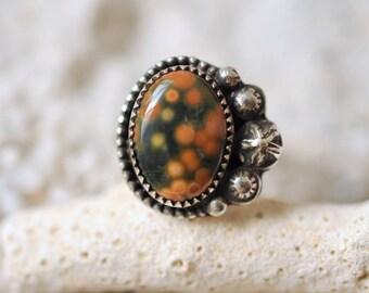 20% SALE! Ocean Jasper ring. handmade sterling silver ring. OOAK ring. orbs and stars. boho bohemian jewelry
