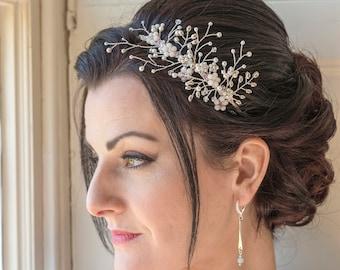 Delicate floral inspired side tiara - Lauren 542bd76466f
