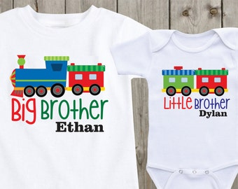 Matching shirts Set of 2 Sibling Shirts Big Brother Little Brother Personalized Shirts Custom Onesie Baby Onesie Baby Shower Gift