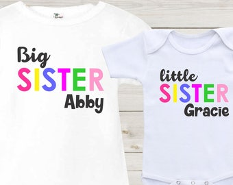 abf2be50e86 Big sister Little Sister Shirts Matching Shirts Girls Outfits Baby Onesie  Girls Shirts Sisters Shirts Custom Personalized Baby Shower Gift