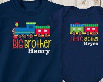 cfb9fd39ba9 Set of 2 matching shirts Big brother little brothers shirts Custom sibling  shirts trains Custom shirts Baby boy outfit Baby shower gift