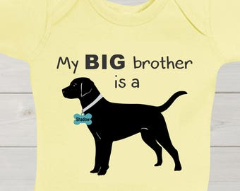 Black Lab Big Brother Baby Bodysuit Custom Baby Shirt Sibling Dog Cute Baby Shower Gift Unisex Gender Neutral Baby Clothing Outfit Baby Gift