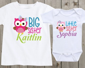 06b580f04dd Matching Shirts Set of 2 Sibling Shirts Big sister little sister baby  onesie Custom Girls Outfits Baby shower gifts Personalized shirt
