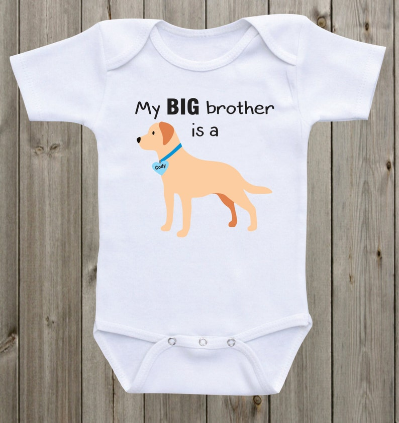 5c55dbbb066 My Big Brother is a Yellow Lab Baby Onesie Lab Shirt Sibling