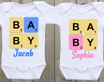 Matching Shirts Twin Matching Outfits Scrabble Baby A Baby B Baby Onesie Newborn Onesies Twin Outfits Baby Shower Gifts Twin Onesies