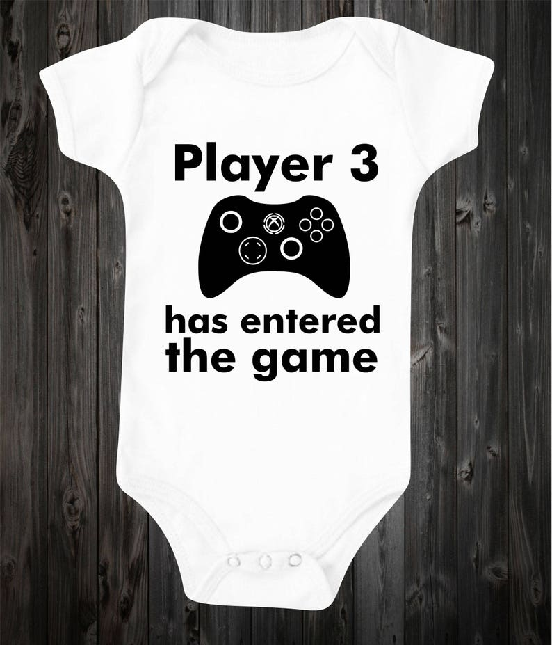 6f6c61aa3fc Player 3 has entered the game Baby Onesie Baby Outfit Gender Neutral Girl  Boy Clothing Gamer Players Funny Baby Baby Saying Shower Gift