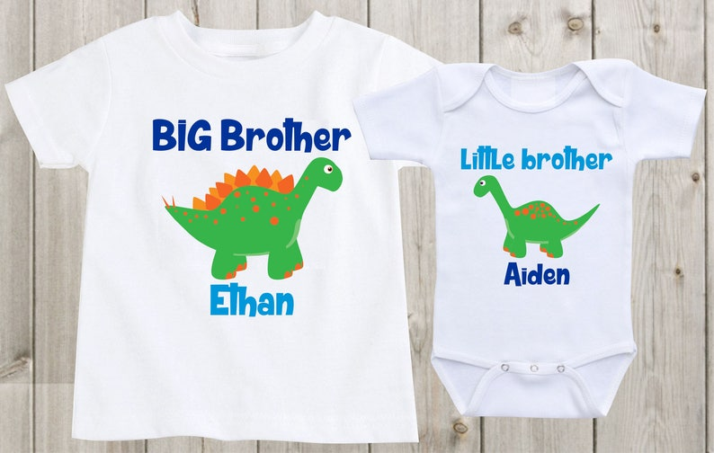 43e56780b Big brother little brother shirts dinosaurs baby onesie   Etsy