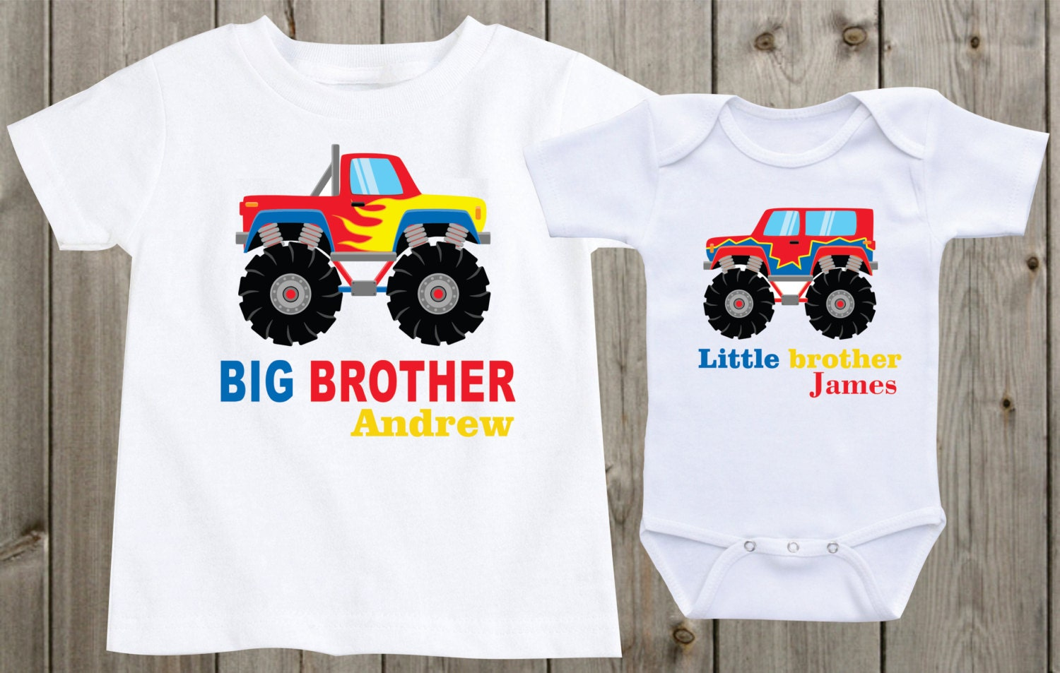Monster Trucks Big Brother Little Brother Shirts Sibling