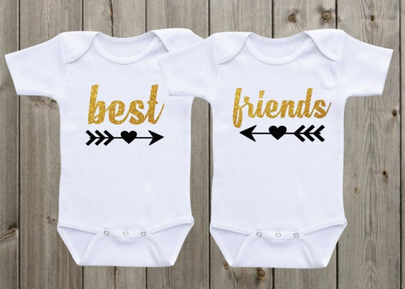 Best Friends Twin Outfits Twin Onesie Set Of 2 Twin Shirts Etsy
