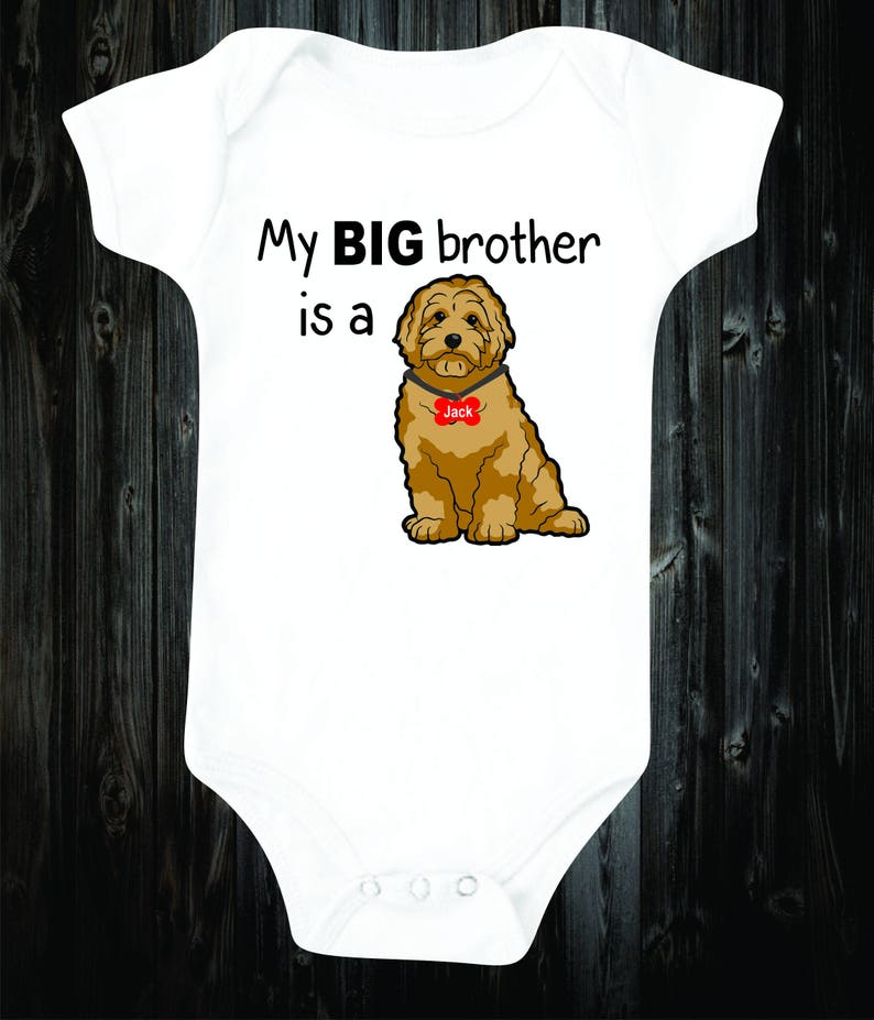 c99a16a84 My big brother is a Golden Doodle Baby Onesie Dog Shirt | Etsy
