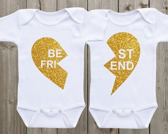 Best Friend Twin Onesies Matching Shirts Twin Outfits Twin Matching Outfits Gold Glitter Shirts Baby Girl Outfits Baby Shower Gifts