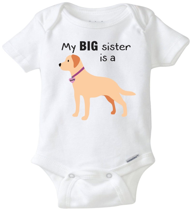 92001139574 My Big sister is a Yellow Lab baby onesie dog onesie Custom