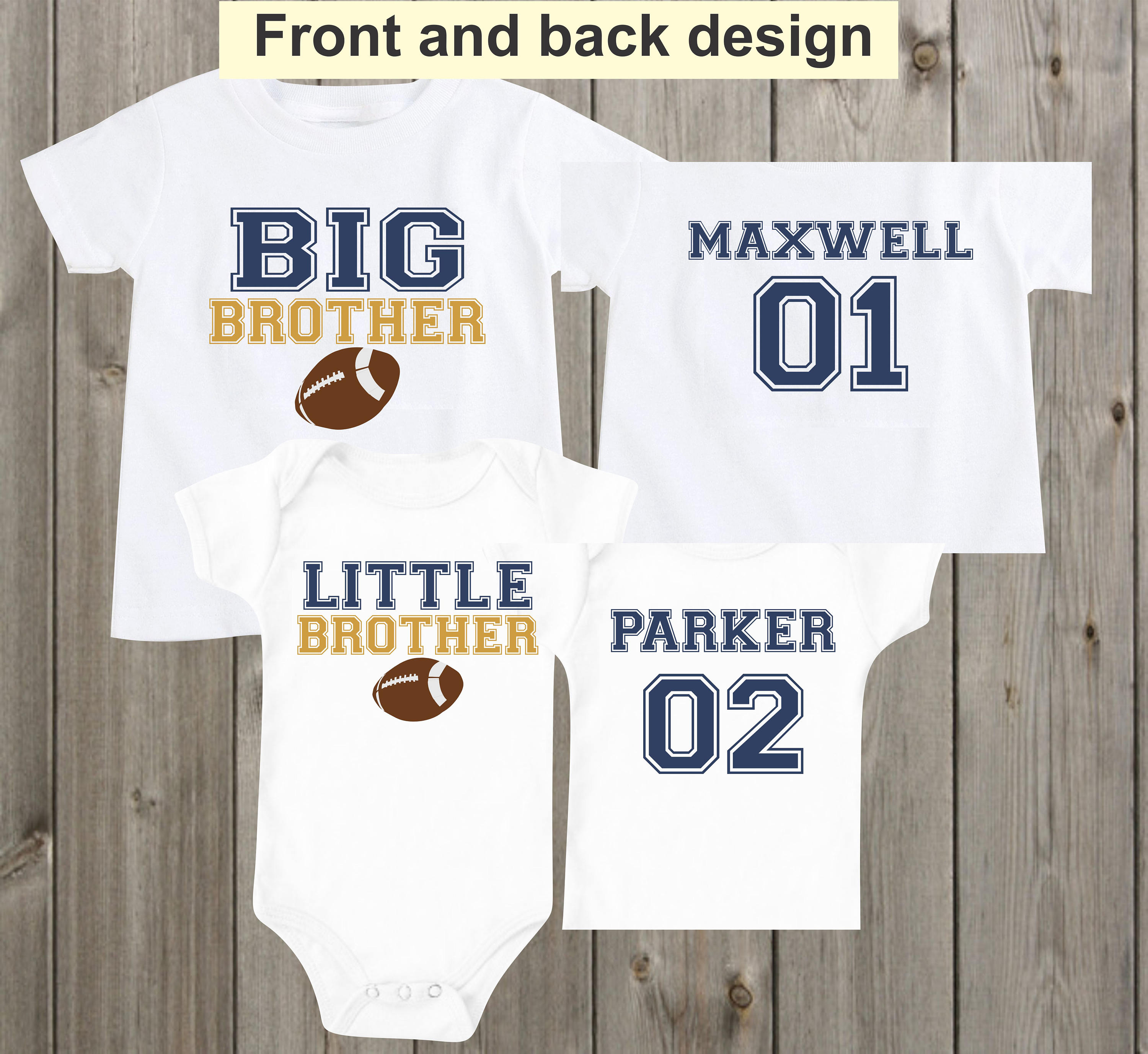 3cd14ffe Big brother little brother Shirts Matching Football Sports | Etsy