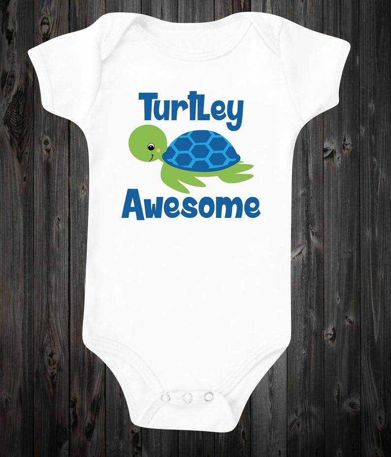 4cf6482b1439 Turtley Awesome Baby ©Onesie Baby Boy Outfit Cute Shirt Turtle