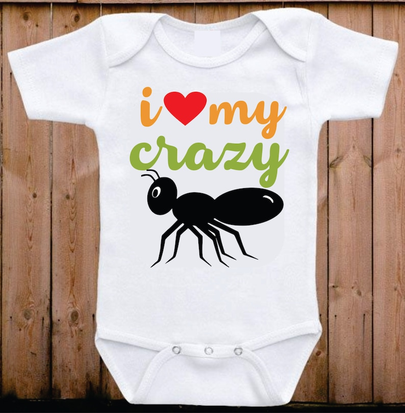 1c4bf6597 I love my crazy Aunt baby onesie My Aunt loves me I love my