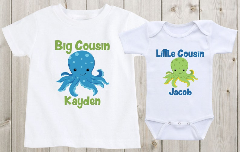 Set of 2 Big Cousin Little Cousin Matching Outfits Matching Shirts Baby Onesie Personalized Shirts Cousin Shirts Baby Shower Gift