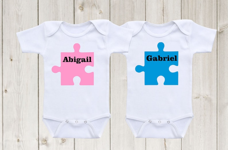 2e9ee044f31 twin matching outfits puzzle designs baby onesies twin onesies custom  onesie Twin Shirts Twin Outfits Baby Shower Gifts Twin Gifts