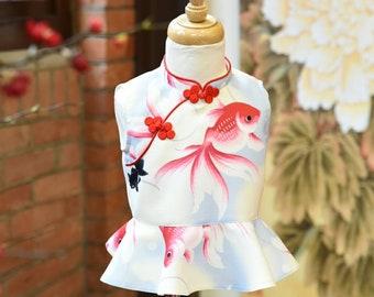 Custom heavy weight linen chipao collar wavy blouse