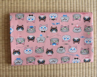 cat cotton fabric  1/2 yard