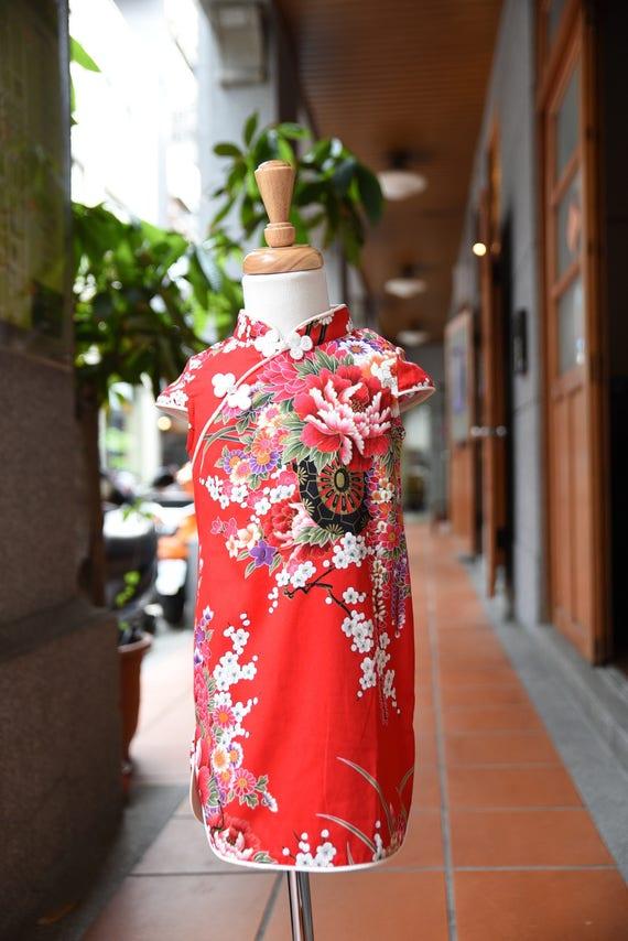 chinese style cheongsam handmade for 1-10 girl red flower