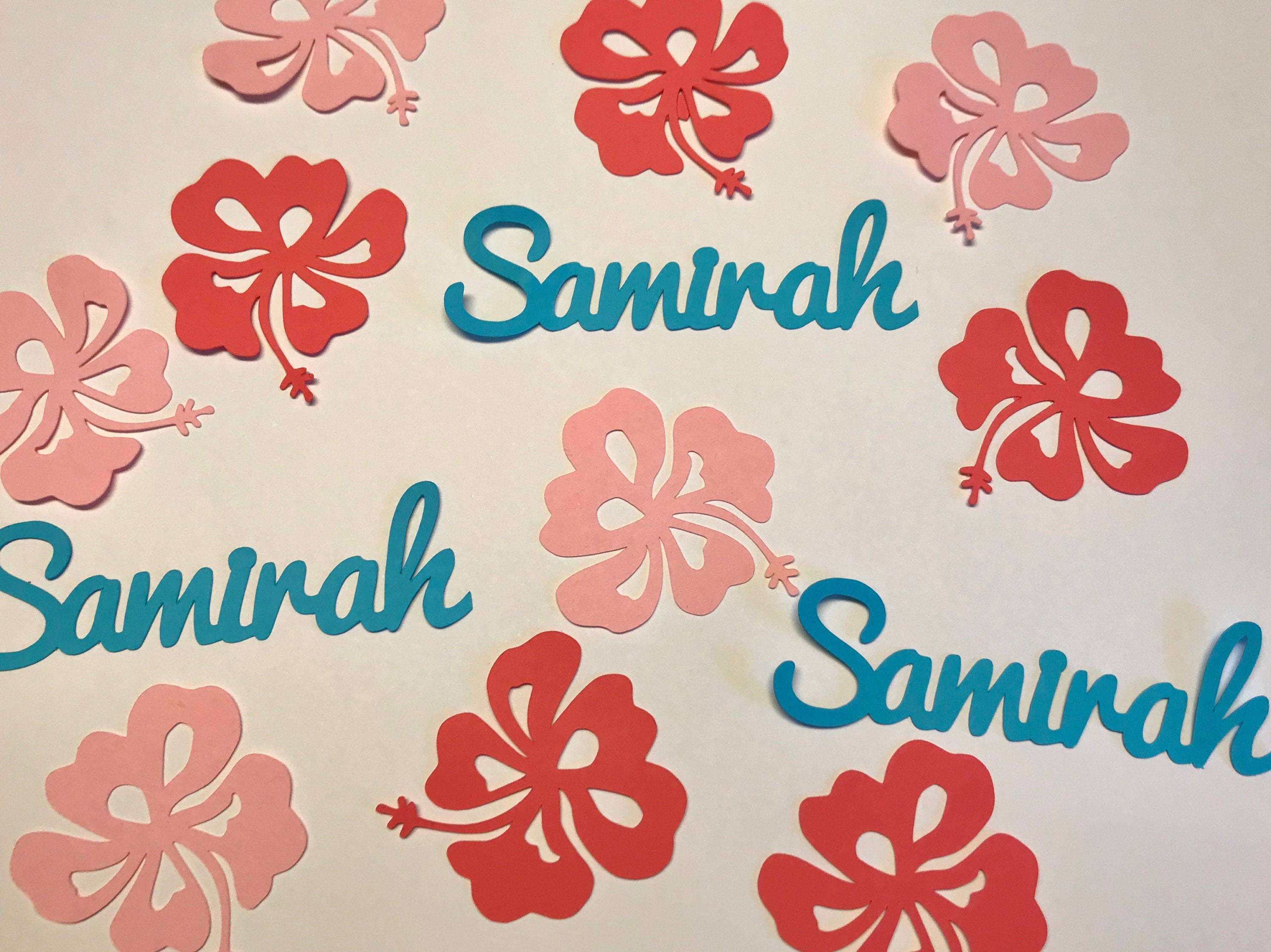 Hawaiian Flowers And Name Confetti Personalized Luau Party Etsy