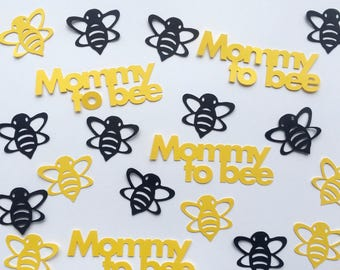 Bumble Bee Baby Shower Confetti - Mommy to Bee, Yellow and Black Bees