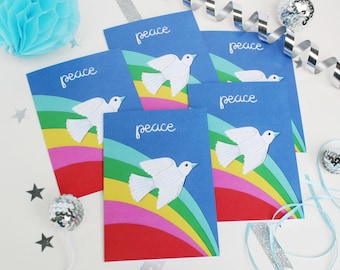 Peace Christmas Cards - Set of 5 White Dove Xmas Cards