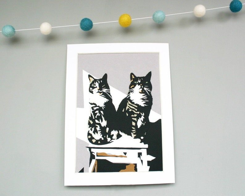 Cat Portrait Papercut Art  Custom Paper Illustration of Two image 0