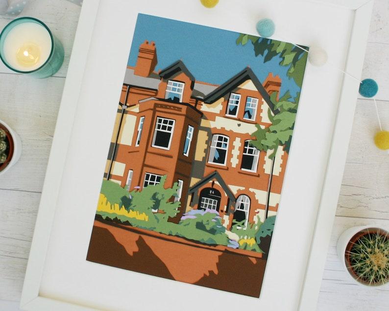 Paper Collage House Illustration  Custom House Portrait image 0