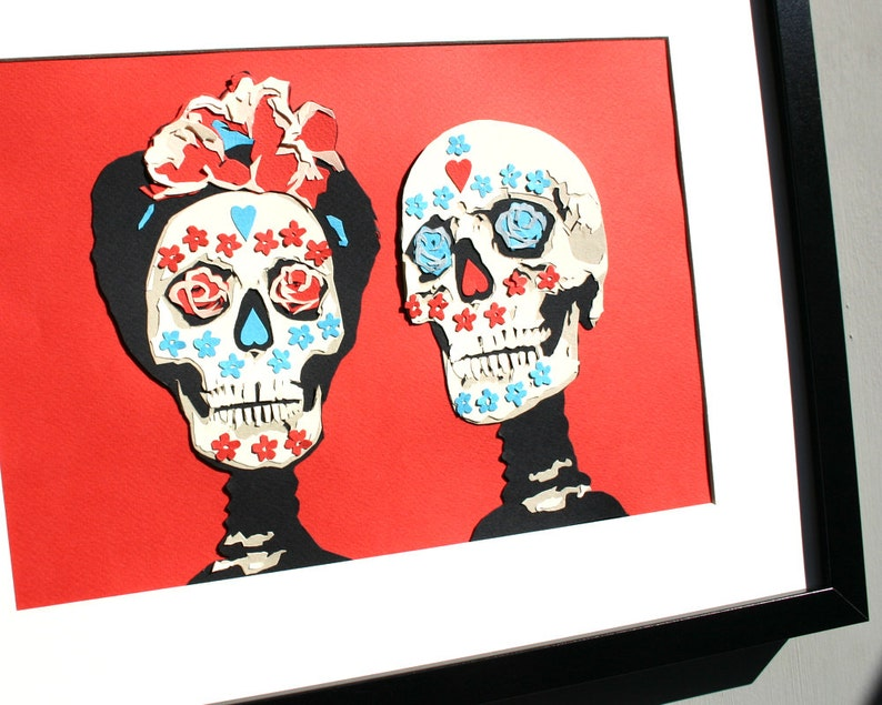 Personalised Wedding Papercut  Mexico Day of the Dead Horror image 0