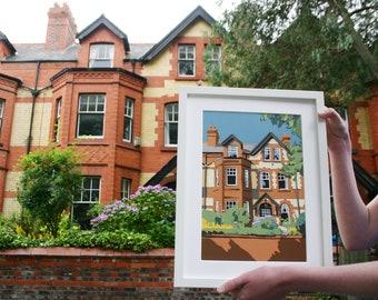 Custom House Papercut Portrait - Personalised Home Illustration